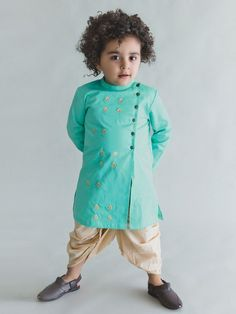 Sea Green Embroidered Cotton Satin Kurta with Beige Dhoti - Set of 2 - Human Kind Kids Indian Wear, Kids Ethnic Wear, Boys Kurta Design, Gents Kurta Design, Kids Kurta, Kids Wear Boys, Baby Boy Dress, Baby Dresses, Kids Dress Wear