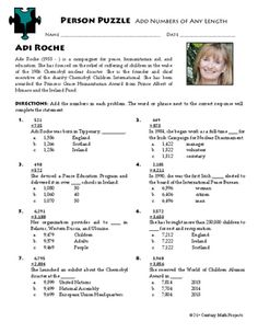 Person Puzzle - Completing the Square - Diana Nyad Worksheet ...