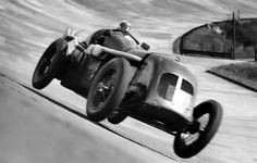 Margaret Allan driving her 6.5-litre Bentley engined special 'Mother Gun' at Brooklands, 1936. Just prior to the debut of Mother Gun, Allan had set a new speed record for the outer Brooklands circuit, driving a Frazer Nash at 127MPH.