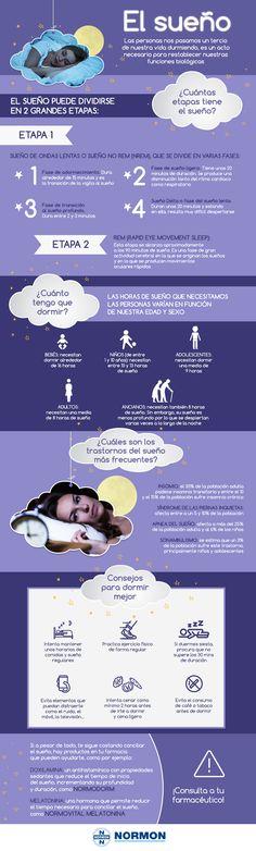 Las personas nos pasamos un tercio de nuestra vida durmiedo: es un acto necesario para poder restablecer nuestras funciones biológicas. ¿Sabes de cuántas fases se compone el sueño o cuántas horas debes dormir? ¡Descubre eso y mucho más en esta infografía!  #dormir #sueño #infografía #infographics #insomnio