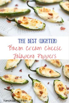 These bacon cream cheese jalapeno poppers are a lighter twist on the beloved classic pepper-poppers. This healthy, gluten free appetizer is the perfect game day recipe! Best Appetizer Recipes, Gluten Free Appetizers, Healthy Appetizers, Snack Recipes, Snacks, Pepper Poppers, Jalapeno Poppers, Cream Cheese Stuffed Jalapenos, Stuffed Peppers