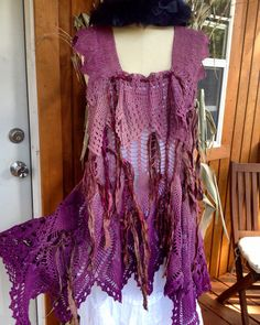 Hippy Dream Crochet Tunic. Oh my goodness. Beautiful hand-dyed creation out of grandma's lace.