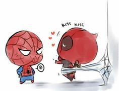 "hann-desu: """"Hugs and kisses, Spidey! Spideypool, Superfamily Avengers, Chibi Marvel, Marvel Art, Marvel Dc Comics, Deadpool X Spiderman, Baby Avengers, Thor Y Loki, Seven Deadly Sins Anime"