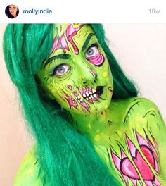 Probably my fav as far as color and detail goes. I do have an orange wig but might get a blue or pink. Zombie Makeup, Sfx Makeup, Cosplay Makeup, Costume Makeup, Halloween Contacts, Halloween Make, Halloween Face Makeup, Halloween 2020, Halloween Ideas