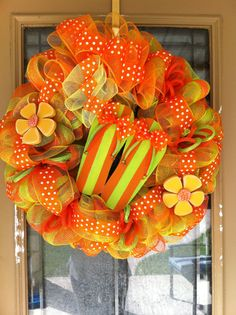 Flip Flop Spring Summer Deco Mesh Wreath by SignsBYDebbieHess