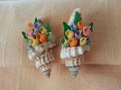 Vintage Darling Hand Crafted Sea Shell Flower Screw on Earrings