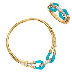 Turquoise Diamond Gold Choker Necklace Bracelet Set | From a unique collection of vintage choker necklaces at http://www.1stdibs.com/jewelry/necklaces/choker-necklaces/