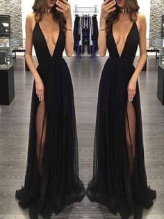Popular Black Deep V-neck Sexy See Through Tulle Charming Simple Formal Evening Party Prom from BellaBridal Evening Dress Sexy, Evening Dress V-neck, V Neck Prom Dress, Simple Evening Dress, Black Prom Dress Prom Dresses 2019 Cheap Gowns, Cheap Evening Dresses, Black Evening Dresses, Black Prom Dresses, Sexy Dresses, Cheap Prom Dresses, Formal Dresses, Dress Black, Backless Dresses