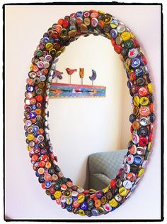 Bottle cap mirror. but doesn't in this picture it look like its a window to another room?