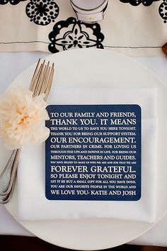 thank you wedding reception table setting