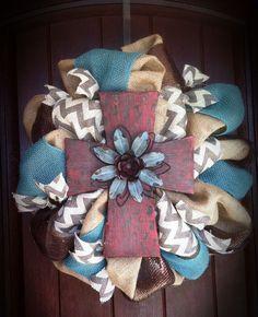 Chevron burlap cross wreath. The Dressy Door on Facebook. $58