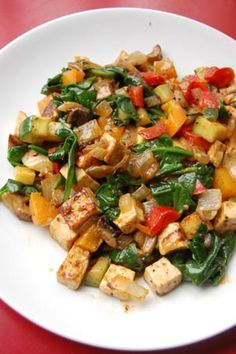 Vegetarian Cafe: Gluten-free Tofu Vegetable saute in nutritional yeast sauce recipe | Book of Yum I want real meat though. :D