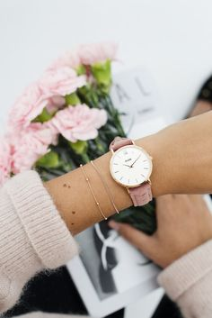 Cluse Midnight women's pink and gold leather bracelet for women, pink velvet gift box style, small holding mesh rnrnSource by kilkennyshop Negin Mirsalehi, International Jewelry, Rose Gold Watches, Birkenstocks, Pink Velvet, Beautiful Watches, Cute Woman, Gold Leather, Fashion Company