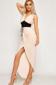Donna Ruched Slinky Corset Belt Dip Hem Maxi Dress