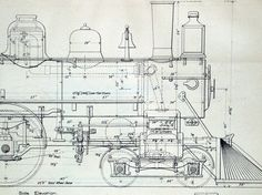 1893 Poster-sized Antique Engineering Drawing of an Eight-Wheel Locomotive. Lake Shore and Michigan Southern Railway. via Etsy.