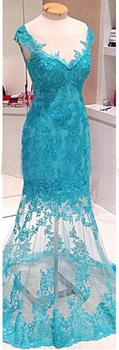 Blue Sexy Lace Prom Gowns Mermaid S