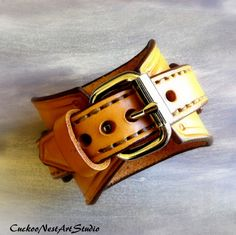 Steampunk Leather Watch Cuff Men's watch by CuckooNestArtStudio
