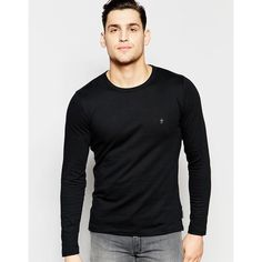 French Connection Crew Neck long Sleeve T-Shirt (2355 RSD) ❤ liked on Polyvore featuring men's fashion, men's clothing, men's shirts, men's t-shirts, black, mens crew neck t shirts, french connection, mens long sleeve cotton t shirts, mens longsleeve shirts and mens cotton shirts