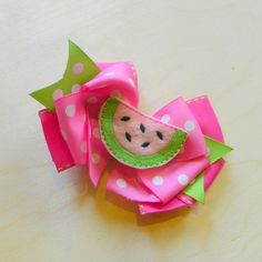 Watermelon Hair Bow  Pink Watermelon Layered by fortheloveofzebra, $6.00