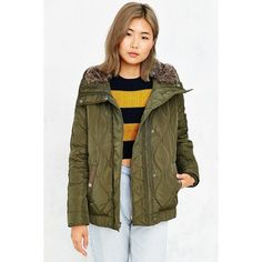 Levi's Quilted Fur-Hood Jacket ($180) ❤ liked on Polyvore featuring outerwear, jackets, green, quilted jacket, green puffer jacket, long puffer jacket, green quilted jacket and brown quilted jacket