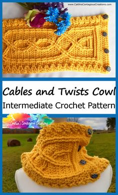 Cables and Twists Cowl Crochet Pattern Intermediate Design Knotted Cables Double Treble Stitch Post Crossed Stitch Neck Warmer Unique Unisex Crochet Scarves, Crochet Yarn, Free Crochet, Dishcloth Crochet, Unique Crochet, Crochet Mandala, Crochet Afghans, Crochet Blankets, Crochet Granny