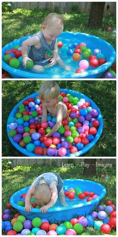 Add a bag of balls to the play pool filled with water for added sensory play while staying cool. Simple fun your kids will love!