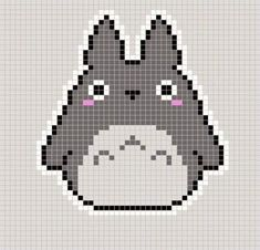Totoro pattern for knit or crochet. Pixel Art Templates, Perler Bead Templates, Diy Perler Beads, Perler Bead Art, Beaded Cross Stitch, Cross Stitch Embroidery, Cross Stitch Patterns, Motifs Perler, Perler Patterns