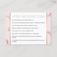 Lots of Lashes Salon Pink/Rose Gold Aftercare Card #eyelash #extensions #lashes #makeup #cosmetics #BusinessCardTemplate #BusinessCardTemplates #BusinessCardDesign #BusinessCardDesigns Affiliate