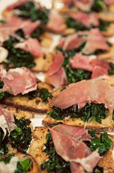 Fall cocktail hour hors d'oeuvre pick: Crostini with Braised Kale and Prosciutto.    The end of summer brings earthy greens that pair beautifully with salty and rich prosciutto.