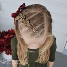 Merry Christmas from Quincy and me! Three strand pull through braid! This was a darling style, recreated from And the lovely bow from shortbraids Easy Toddler Hairstyles, Lil Girl Hairstyles, Cute Hairstyles For Kids, Braided Hairstyles, Long Hairstyles, Hairdos, Short Haircuts, Wedding Hairstyles, Picture Day Hair