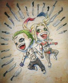 Suicide Squad Joker and Harley Quinn Chibis by Racuun.deviantart… on Selbstmordkommando Joker und Harley Quinn Chibis von Racuun. Harley Quinn Et Le Joker, Harley And Joker Love, Harley Quinn Tattoo, Harley Quinn Drawing, Der Joker, Joker Art, Joker Drawings, Cute Drawings, Harley Queen