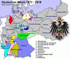 Map of Prussia 1871 - 1918 ⍋ World History Map, Modern World History, Us History, British History, Family History, Nassau, German Royal Family, European Map, Dna Genealogy