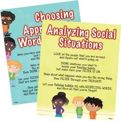 This set of colorful posters remind kids to use a social filter by Choosing Appropriate Words and Analyzing Social Situations before speaking. Julia Cook, School Counseling, I Cant, Social Skills, Classroom Management, Believe In You, Childrens Books, Thats Not My, Learning