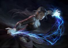 If she has to, Lyra will only use her magic to fight. While most spell casters have to use something to channel their magic through, because she is an arcane warrior, she can channel through her own body. (Spark by Anna Steinbauer)