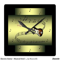 Electric Guitar ~ Musical Swirl ~ Notes ~ * ~ Square Wall Clock