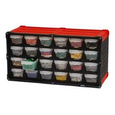 Use as a free-standing organizer or mount to the wall using the rear keyhole access points. This organizer contains 24 individual drawers' quick access to your supplies. Stay-close drawers prevent accidental spills should your organizer get tipped over. Shelf Bins, Storage Bins, Tool Storage, Playroom Storage, Garage Storage, Small Parts Storage, Small Parts Organizer, Hardware Organizer, Diy Crafts Quotes