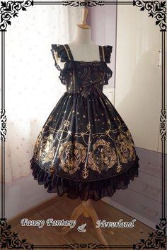 ***The Mermaids Singing*** Series Gold Staming High Waist Lolita JSK $ 97.99 - My Lolita Dress
