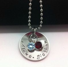 Personalized Hand Stamped Domed Disc Mommy Keepsake Necklace with Birthstones mothers day gift