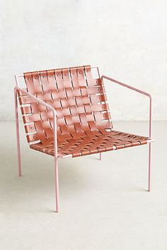 Eric Trine Rose gold iron and woven leather chair