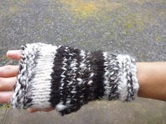 Hand knitted fingerless gloves/mittens using hand spun Jacob sheep wool by RebeccasWool on Etsy Mitten Gloves, Mittens, Jacob Sheep, Fingerless Gloves Knitted, Sheep Wool, Hand Spinning, Arm Warmers, Hand Knitting, Pictures