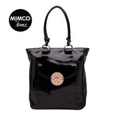 MIMCO Black Patent Turnlock Shopper tote - my next mim! Stylish Handbags, Cute Handbags, New Handbags, Fashion Handbags, Mimco Bag, Types Of Bag, My Bags, Tote Bags, Shopper Tote