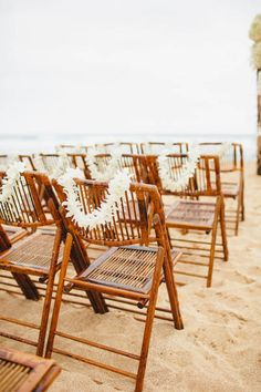 Wedding Photography Hawaii - This Intimate Kauai Wedding from Moana Events and Sea Light Studios features an Indian ceremony and beautiful beaches. Hawaiian Wedding Themes, Hawaiian Theme, Wedding Chairs, Wedding Seating, Kauai Wedding, Wedding Beach, Olive Wedding, Hair Wedding, Summer Wedding