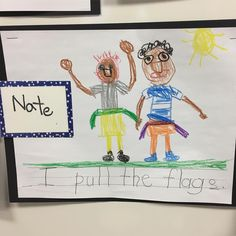 Nate's art work for open house-- he pulls the flags! #sports 🏈 I loved Flag Football..! ..and what a great drawing.. so colorful..!