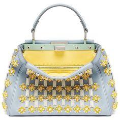 Fendi Peekaboo Mini Beaded Satchel (11 985 AUD) ❤ liked on Polyvore featuring bags, handbags, apparel & accessories, fendi handbags, mini satchel purse, fendi satchel, mini satchel and miniature purse