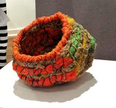 Wire and textiles. Weaving Textiles, Weaving Art, Rope Basket, Basket Weaving, Contemporary Baskets, Willow Weaving, Fabric Bowls, Fibre And Fabric, Textile Fiber Art