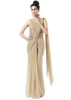 Gold saree gown adorn in cord embroidery only on Kalki
