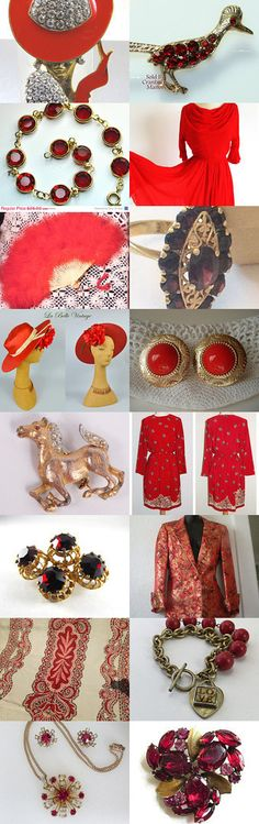 #Red and #Gold - #Royal Set  ❤  by Dorota and Monika on Etsy--Pinned with TreasuryPin.com // #vintage #jewelery #clothing #glamour #etsians #etsylove