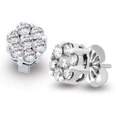 0.50 Carat Ben Garelick Diamond Flower Cluster Earrings in 14K White G · ER1052S8W · Ben Garelick Jewelers