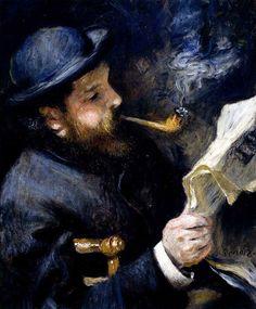 Pierre Auguste Renoir    Claude Monet'nin Portresi / Claude Monet Reading    1872. Tuval üzerine yağlıboya. 61 x 50 cm. Musée Marmottan, Paris.