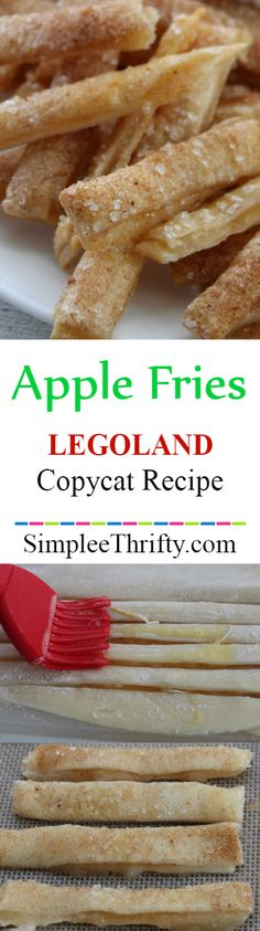 Copycat Apple Fries inspired by Legoland Apple Fries. They are delicious! Add caramel and whip cream for a topping, they both taste amazing. These are one of my faves at legoland. Apple Recipes, Sweet Recipes, Snack Recipes, Dessert Recipes, Cooking Recipes, Snacks, Baked Apple Fries, Chefs, Fried Apples